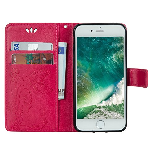 Cover per Apple iPhone 7 Custodia in Pelle,TOCASO Flip Wallet Case PU Pelle Caso per iPhone 7 Portafoglio Cover Farfalla Strap Ultra Sottile Leather Protettivo Cases Covers Shell Chiusura Magnetica Fu Hot Pink