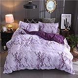 Lanqinglv Bettwäsche 220x240cm Reißverschluss Violett & Weiß Marmor Muster Bettwäsche 3-teilig Mikrofaser Bettbezug mit 2 Kissenbezug (Lila,220x240)