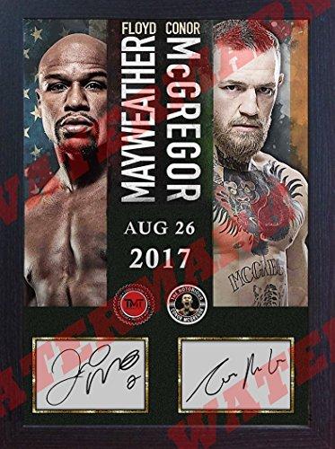 Conor McGregor Floyd Mayweather Jr TMT UFC MMA signed Boxing Memorabilia Framed