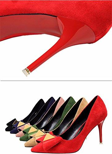 FLYRCX Signora sottili e affilate bow tie personalità sexy moda tacco alto scarpe di partito A