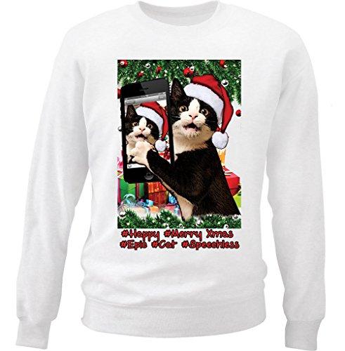 Teesquare1st TUXEDO CAT CHRISTMAS SELFIE Felpa di cotone bianca Size Small