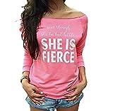 FEITONG Mujeres sueltan Tops manga larga La camiseta de la ...