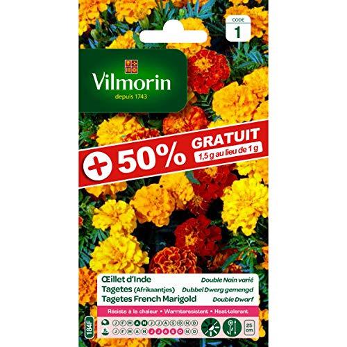 Vilmorin Sachet graines Oeillet d'Inde Double Nain Varié 50% Gratuit - Tagetes erecta