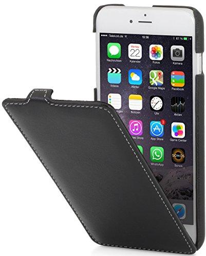 StilGut UltraSlim Case Hülle Leder-Tasche für iPhone 6 Plus. Dünnes 360 Grad Flip-Case vertikal klappbar aus Echtleder für das Original iPhone 6 Plus (5,5 Zoll), schwarz - 6 Leder Iphone Case Vertikal