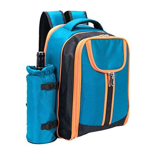 S SKSTYLE Picknick-Rucksack für 4 Personen mit solidem Edelstahl-Utensilien, übergroße Wasserabweisende Fleece-Decke, Kühlfach, Abnehmbarer Weinflaschenhalter in Einem modernen Rucksack