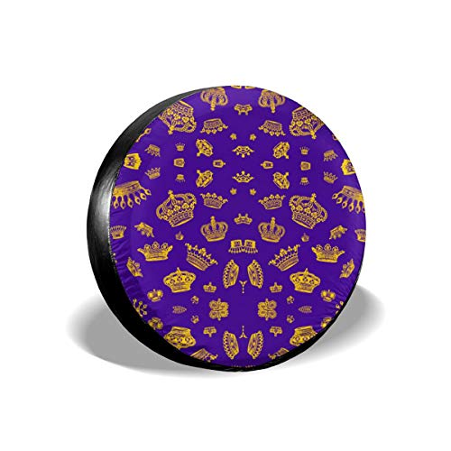 Royal Crowns - Gold On Purple 14-17 Inch Tire Covers Tire Protection Wheel Tyre Storage Bag -