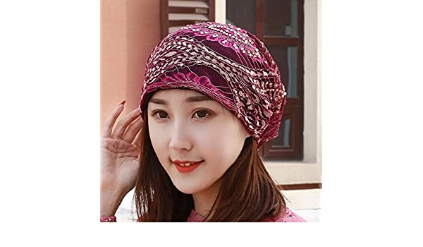 SAIBANGZI Hats Ladies Breathes Lace Hat Scarf Cap Drill Pregnant Woman Hat  Pile Hat Summer Air Conditioning Cap Thin Money. Purple  Amazon.co.uk   Kitchen   ... 90065f26f4bc