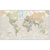 Maps International Huge World Map - Classic World Map Poster - Laminated - 197 x 116.5cm - Classic colours