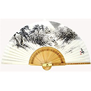 Hand Painted Folding Winter Scene Painting Korean Mulberry Rice White Paper Bamboo Art Handheld Decorative Fan