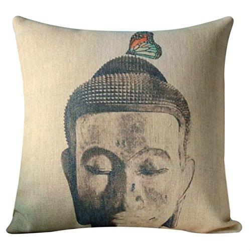 Vintage Cina Zen e farfalla cotone lino divano cuscino cuscino decorativo Home Decor Divano tiro cuscino caso, Tessuto, A004, 17.7x17.7 inches 45x45cm