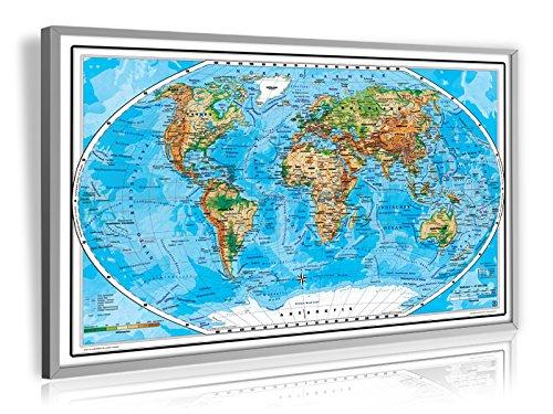 Mega XXL-Welt physisch mit 3D-Relief Optik, weißer Rand ohne Titel - LED - Leucht Pinnwand Landkarte, matt antireflexierend laminiert (beschreib- und abwaschbar), im Alurahmen gerahmt silber matt