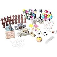 49 PCS Miniature Ornament Kit para DIY Fairy Garden Dollhouse Plant Decoration