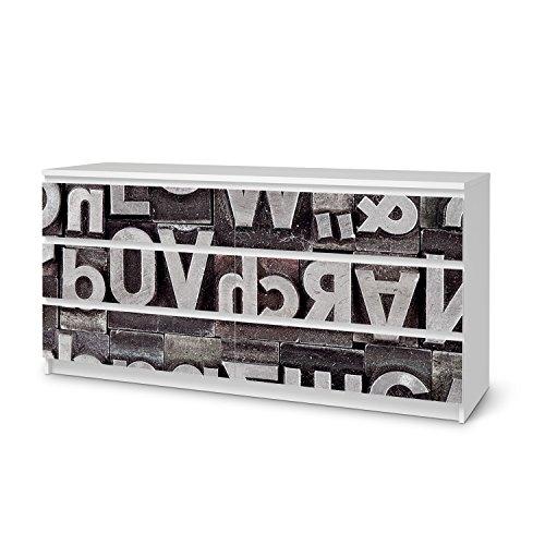 IKEA Malm 6 Schubladen (breit) Möbel-Folie Design Alphabet Schutz Dekorations-Element