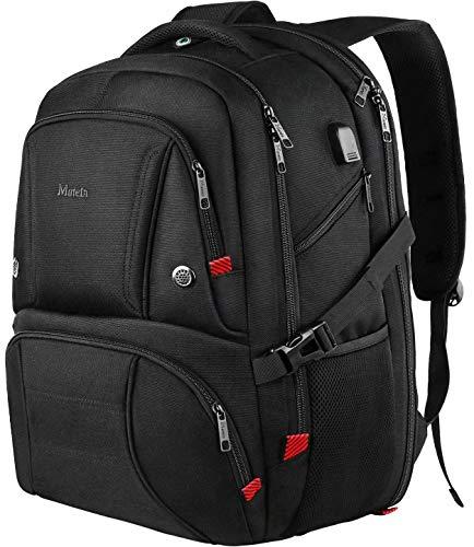 18,4 Zoll Laptop Rucksack, langlebig, großer Rucksack mit USB-Ladeanschluss, TSA-freundlicher Reiserucksack für Männer und Frauen, Schwarz