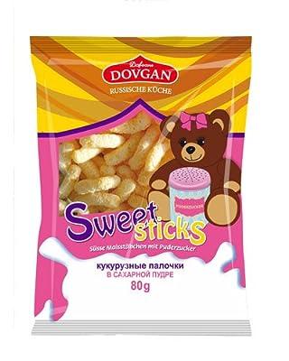 Dovgan Süße Maisstäbchen mit Puderzucker, 12er Pack