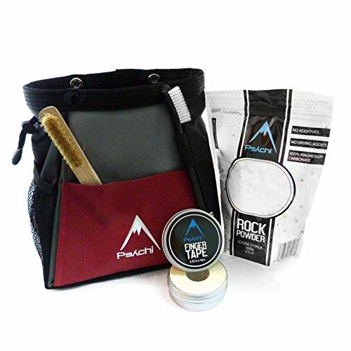 Psychi Abyss Kreide Bouldern Bucket Stand Bag Starter Bundle für Bouldern Klettern mit Kreide Tape und Bürste, dunkelrot