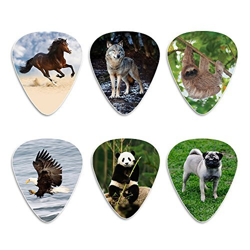creanoso Animal Gitarre Plektrum Plektron Picks (12Stück)–Hund Eagle Faultier Pferd Panda Wolf Plektrum Medium (Zelluloid