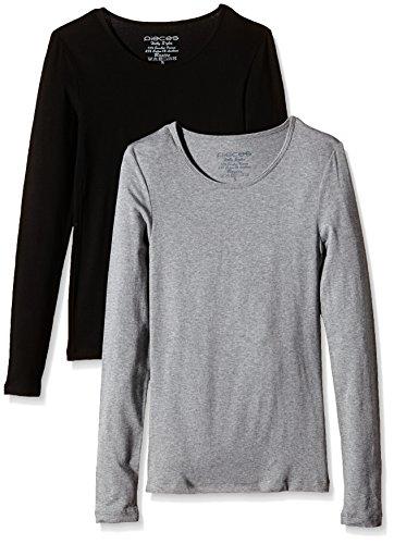 PIECES Damen Top Pcholly Ls T-shirt 2-pack Grau (Light Grey Melange)