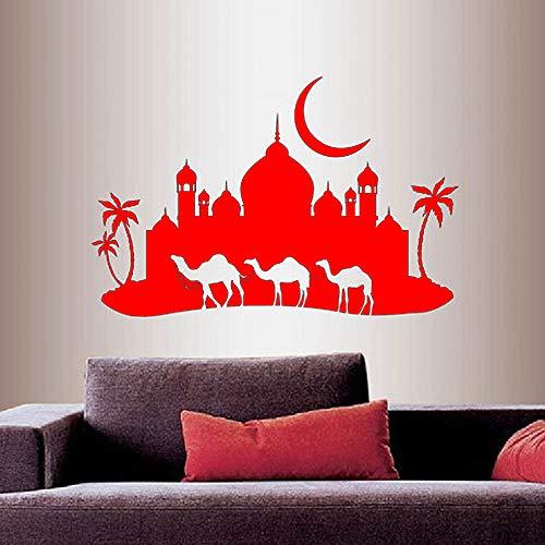 Wand Vinyl Aufkleber Wohnkultur Aufkleber Arabian Night Camel Caravan Moschee Palast Skyline Mond Abnehmbare Stilvolle Wandgestaltung rot 57x84 cm -