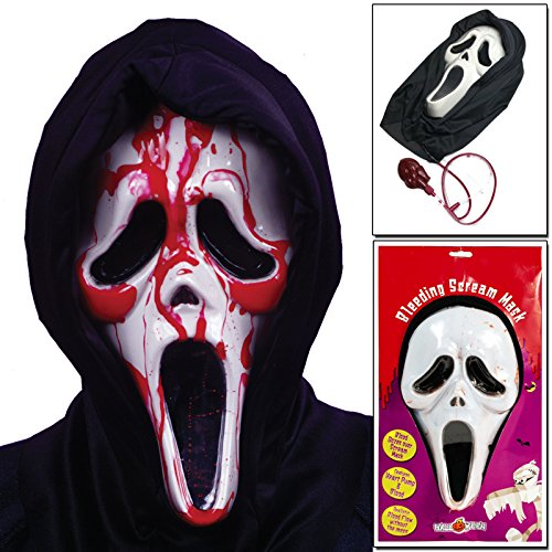 CostMad Halloween Bleeding Scream Bloody Face Mask Screaming Fancy Dress Party Horror Grusel Ghost Fake Blood-Pumpe Movie One Size