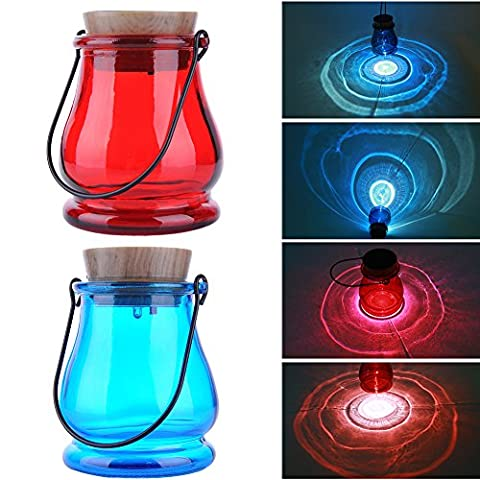 Solaire Night Jar Powered Table lumineuse Lampe solaire LED Light Blue / Red Lantern