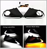 #4: PR Daytime Running Light Led Drl White for Fog Light With Yellow Turn Signal (Set Of 2 with complete wiring)-For Maruti Suzuki Baleno
