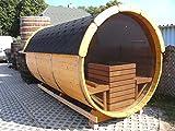 JUNIT SFF19352 Ø 1,9 m, L 3,5 m, Saunafass aus Fichte mit Panorama - Glaswand, 1m Vorraum ohne Terrasse für 6 Personen -