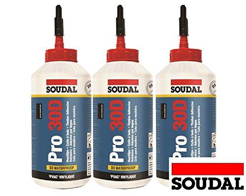 Sparset 3x 750ml Soudal Pro 30D wasserfester gebrauchsfertiger Holzleim auf PVAC-Basis