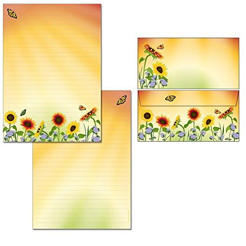 Briefblock-Mappe Sonnenblumenfeld - 1 Schreibblock mit Linien beidseitig bedruckt DIN A4 + 18 Briefumschläge DIN lang 7460+6125M
