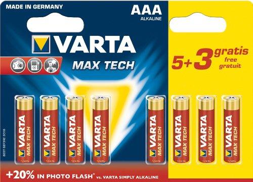 Galleria fotografica Varta Max Tech Batteria Alcaline, AAA Ministilo, Confezione da 5+3 Pezzi