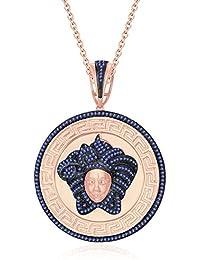 "Silvernshine 1.25 Ct Round Cut Tanzanite Versa Pendant 18"" Chain In 14K Rose Gold Fn 925 Silver"