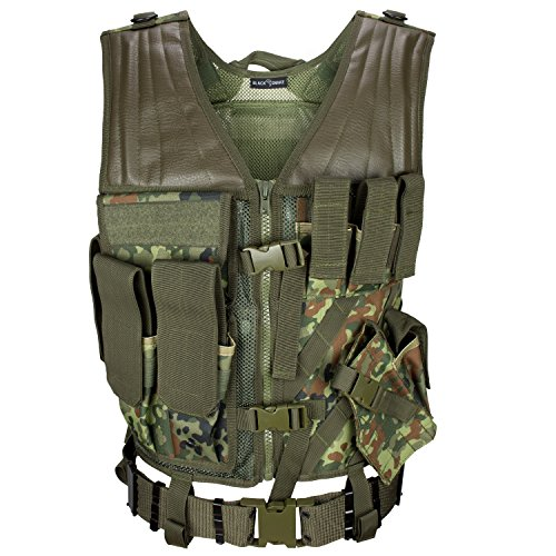 USMC Einsatzweste mit Koppel Tactical Vest Paintball Airsoft Softair Weste BlackSnake® - Flecktarn -
