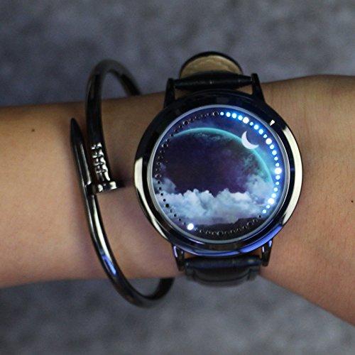 Dsstyle kreative Herren/Damen Touch-Screen-Armbanduhr, LED, wasserdicht, Leder-Sport-Armbanduhr, Geschenk Earth Starry Sky