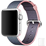Brain Freezer Replacement Woven Nylon Watch Strap For Apple IWatch Series 1, Series 2 , Series 3 42MM Light Pink Blue Watch Not Including Plus Screen Guard