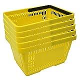 5 Einkaufskörbe aus Kunststoff Plastik mit Henkel 20 Liter 40cm stapelbar gelb