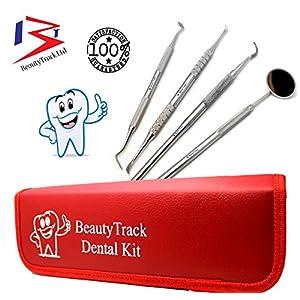Dental Aufhellungswerkzeuge – Edelstahl Dental Spiegel, 4 Set – Dental Zahnstein und Zahnbelag Entferner und zahnärztlich curette- Edelstahl – dentalhygieniker Ausrüstung – Rot Leder Fall