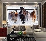 Yosot 3D Pferd Run Benutzerdefinierte Fototapete Art Restaurant Retro Sofa Hintergrund Tapete 3D Wandbild Tapete Dekoration-450cmx300cm
