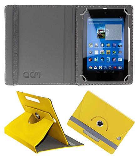 Acm Rotating 360° Leather Flip Case for Dell Venue 7 3740 Cover Stand Yellow  available at amazon for Rs.149