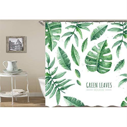 hysxm 3D Print Duschvorhänge Wasserdichte Pflanzengras Floral Vorhänge Für Badezimmer Stoff Vorhänge Angepasst Baddekor-180(H)*200(W) cm