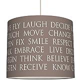 anna wand Lampenschirm BEAUTIFUL WORDS/TAUPE – Schirm für Lampen mit Text-Motiv in Taupe/Weiß – Sanftes Licht für Tischleuchte/Stehlampe / Hängelampe im Wohnzimmer, Esszimmer, Schlafzimmer