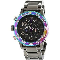 Nixon 42-20 Chrono Gunmetal/Multi A0371698-00 - Reloj unisex, correa de acero inoxidable color plateado