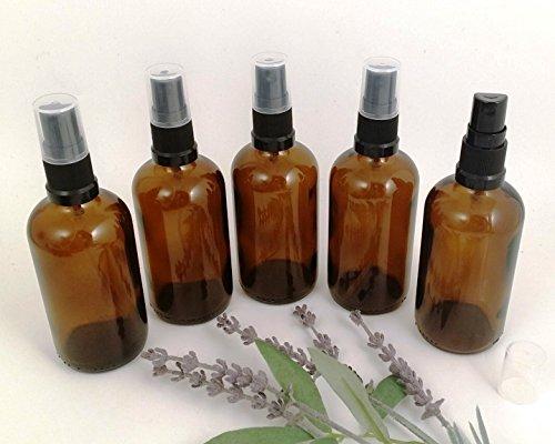 Lot de 5 flacons de 100 ml en verre ambré pour aromathérapie avec compte-gouttes et pulvérisateur noir - Parfaits pour eaux florales, sprays désodorisants, sprays pour animaux ou spray de voyage