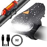LED Fahrradbeleuchtung Fahrradlampen Fahrradlicht Set mit Lichtsensor, Myguru Lichtempfindliche Fahrradlichter USB Fahrradlampe Frontlichter, Wasserdichte Lampensets mit 1 Frontlicht für Fahrradlenker und 1 Rücklicht, 5 Modi