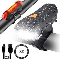 Contenu de paquet 1*Mode d'emplois en français 1*Phare avant de vélo (feu blanc) 1*Phare arrière de vélo (feu rouge) 2*Câble de Rechargement USB  1*Sangle flexible en silicone  Spécifications Luminosité: LED super lumineux CREE XPG Luminosité: 900lum...