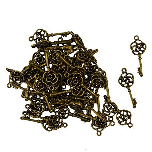 Descripción: Material: Aleación de zinc  Color: bronce antiguo  Bronce antiguo de la vendimia aleación de zinc clave colgante en forma de colgante con filigranas 3D flor color de rosa para la elaboración de joyas de bricolaje  Grandes ac...