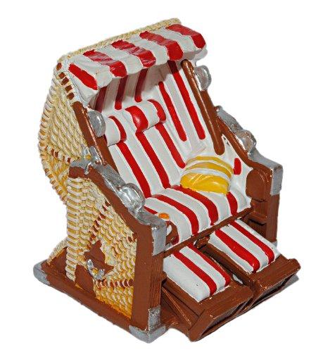 alles-meine.de GmbH 3-D Figur Strandkorb rot weiß – z.B. als Tischdeko Mini Deko Dekofigur – Ostsee Meer Nordsee Maritim Klein Strandkörbe