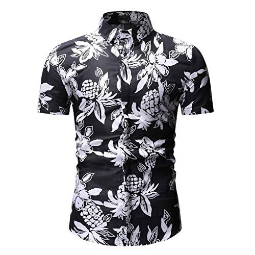 CICIYONER Herren Hawaiihemd Hawaiishirt Urlaub Hemd Strandhemd Freizeithemd Hawaii-Print mit Kurzarm Schwarz Blau Rot Grün M L XL XXL XXXL - Print Schlaf Tee