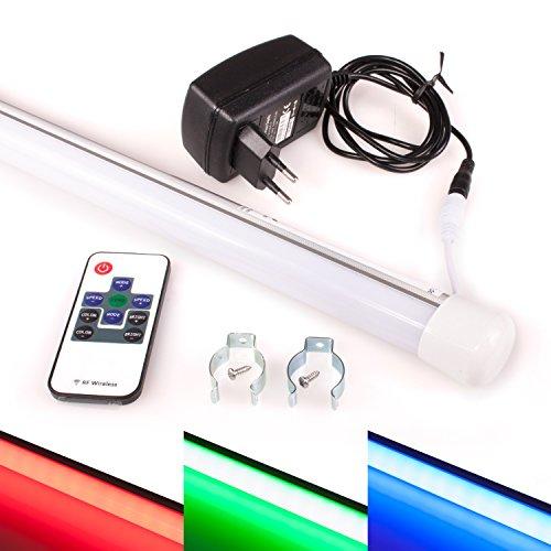 LED RGB Leuchstoffröhre | 60cm | Funkfernbedienung | Dimmbar | Blau, Rot, Grün und 17 weitere Farben