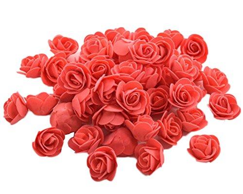 50x Demarkt Rosen Blütenköpfe Deko Blütenköpfe für Hochzeit Wohnzimmer 3-3.5cm Rot