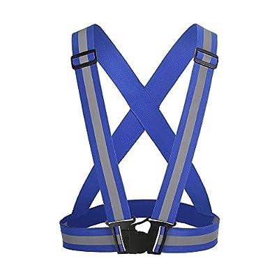 Kingnew Einstellbare Warnweste Elastische Gurte Sichtbare Getriebe Sicherheitsweste für Laufen, Gehen, Radfahren, Reiten, Motorrad (Blau)